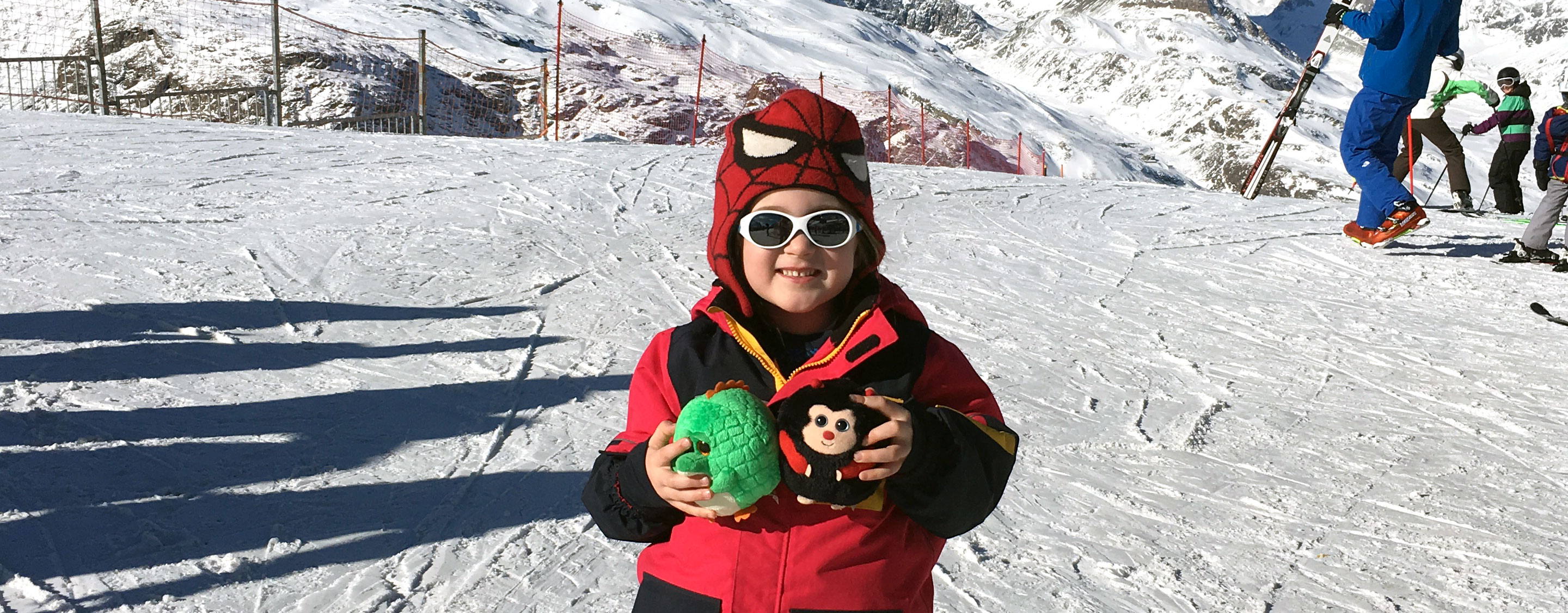on the mountain with cuddly toys